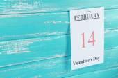 Valentines Day, February 14 on calendar on wooden background — Stok fotoğraf