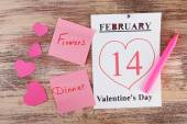 Valentines Day, February 14 on calendar on wooden background — Foto de Stock