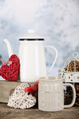 Winter composition with hot beverage on nature background — Stok fotoğraf