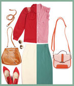 Outfits of woman clothes and accessories in collage — Stock Photo