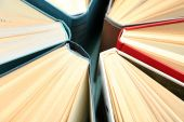 Group of books on colorful background, top view — Stock fotografie