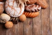 Different bread on table close-up — Stock Photo
