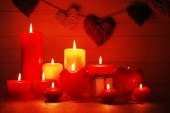 Romantic gift with candles — Stockfoto