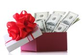 Bundle of dollars in present box — Stock Photo