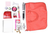 Ladies handbag with accessories — Stock Photo