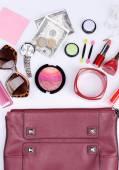 Ladies handbag with accessories — Foto de Stock