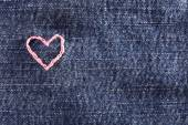 Jeans fabric with heart — Fotografia Stock