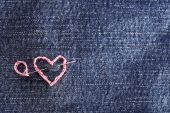 Jeans fabric with heart — Stockfoto
