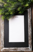 Menu board with Christmas decoration on wooden planks background — Stok fotoğraf