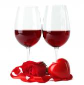 Composition with red wine in glasses — Stock Photo