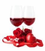 Kompozycja z czerwone wino w kieliszkach — Zdjęcie stockowe