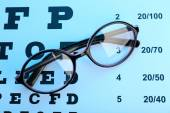 Glasses on eye chart close-up — Stock Photo