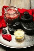 Spa stones, sea salt and petals — Stock Photo