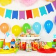 Prepared birthday table with sweets for children party — Stock Photo #64801023