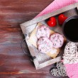 Pink cookies and cup of coffee for  Valentines Day — Stock Photo #64801067