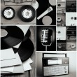 Vinyl records, audio cassettes, microphone and radio set in collage — Stock Photo #64814467