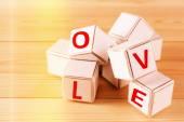 Love spelled in wooden blocks — Foto Stock