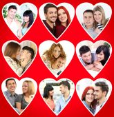 Happy loving couples portraits in collage — Stock Photo