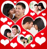 Happy loving couple portraits in collage — Stock Photo