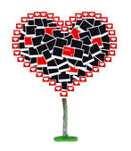 Big heart-shaped tree made of photo cards isolated on white — Foto Stock