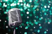Retro microphone on bright background, Karaoke concept — Stock Photo