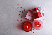 Romantic gift with candles, love concept — Fotografia Stock