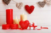 Romantic gift with candles on wooden background. Love concept — Fotografia Stock