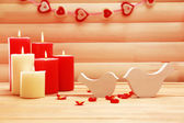 Romantic candles on wooden background, love concept — Fotografia Stock