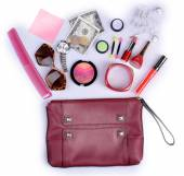 Ladies handbag and things — Stock Photo