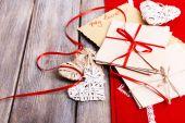Cartas de amor e corações — Fotografia Stock