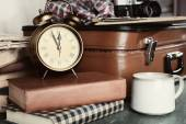 Vintage suitcase with clothes — Stock Photo