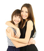 Two beautiful girls isolated on white — Stock Photo