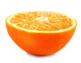 Juicy half of orange isolated on white — Stock Photo
