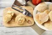 Fresh homemade bread buns — Stok fotoğraf