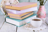 Cup of tea with books — Stock Photo