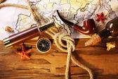 Marine still life with world map — Stock Photo