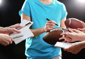 Autographs by American football star — Stock Photo