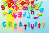 Creativity motto by alphabet letters — Stock Photo