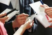 Elegant man signing autograph — Stock Photo