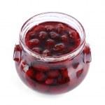 Homemade jar of plum jam isolated on white background — Stock Photo #65020419