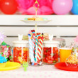 Prepared birthday table with sweets for children party — Stock Photo #65125391