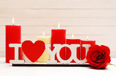 Romantic gift with candles, love concept — Stok fotoğraf
