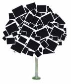 Big tree made of photo cards isolated on white — Foto Stock