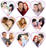 Happy loving couples portraits in collage — Stockfoto