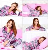 Collage de fotos con joven hermosa mujer durmiendo en la cama — Foto de Stock