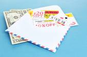 Set of cut coupons for shopping to save money — Stock Photo