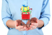 Small shopping cart in female hands on white background — Stock Photo