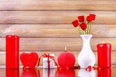 Romantic gift with candles, love concept — ストック写真
