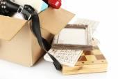 Box of unwanted stuff isolated on white — Stock Photo