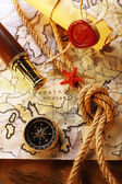 Marine still life with world map — Stock Photo